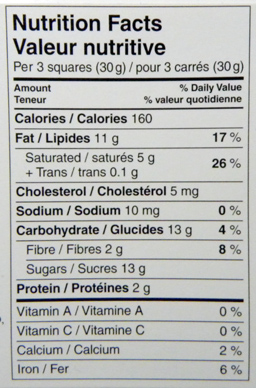 Nutrition facts of a chocolate bar